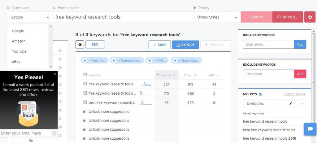 Use the wordtracker.com research tool to find niche keywords for your business.