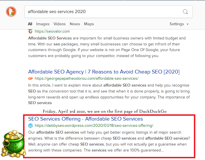 """""""affordable seo services 2020"""" is ranked on page 1 of duckduckgo"""