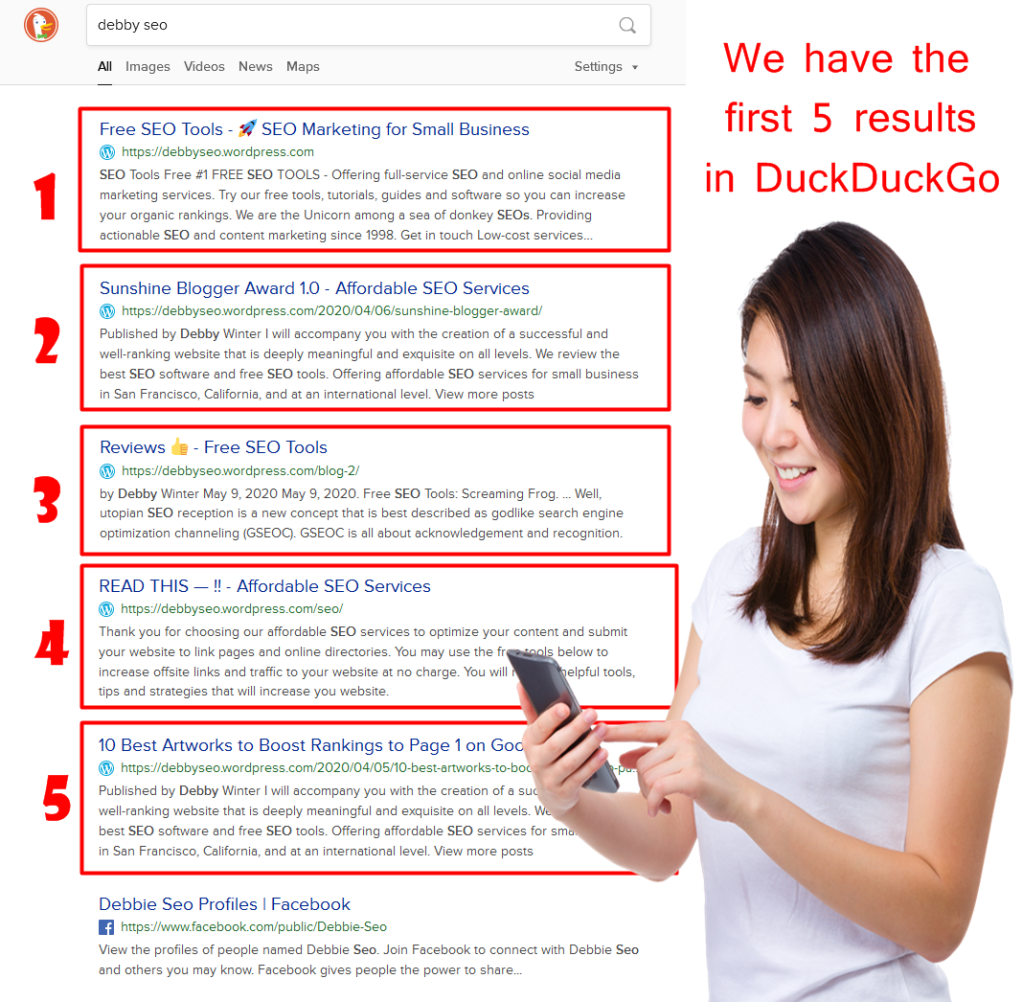 The first 5 results on DuckDuckGo are ours thanks to laser-beam SEO focus!