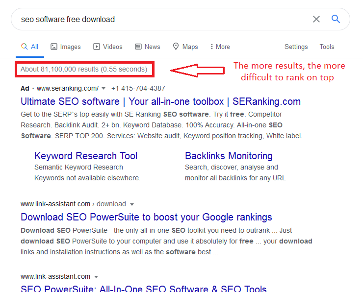 SEO software free download has a lot of results