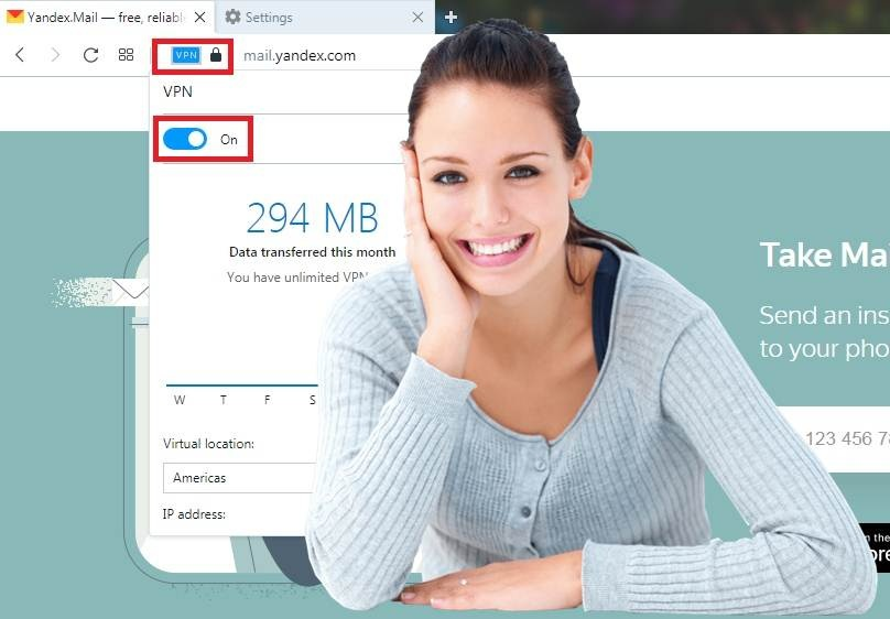 Free Opera VPN installed and configured for SEO