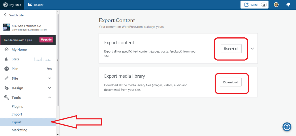 Export your WordPress database and media files