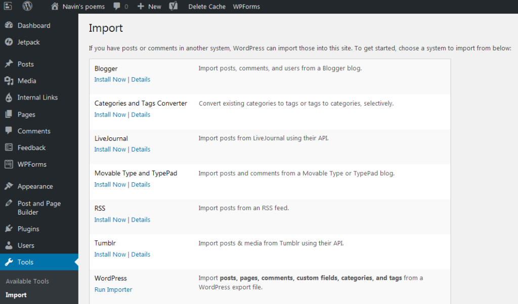 Import your blog from a WordPress export file and automatically download media files from the remote location