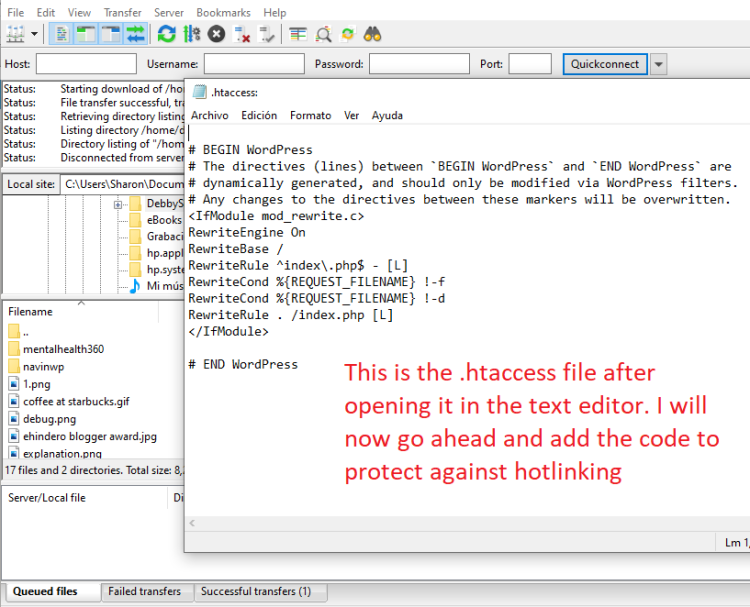 .htaccess file in notepad
